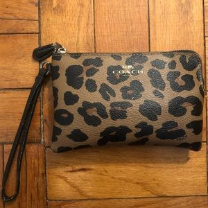 Coach Brown Leopard Animal Print Wristlet Wallet